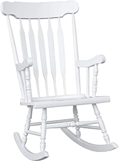 HOMCOM Wooden Baby Nursery Rocking Chair - White