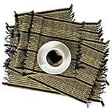 Set of 6 Pack Woven Fringe Placemats for Dining Table Handmade Natural Seagrass Wicker Braided Placemat Heat...