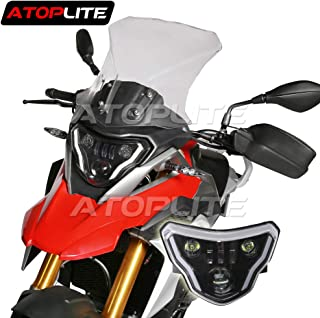 ATOPLITE BMW moto LED Headlight High/Low Beam with Angel Eyes DRL Assembly Kit and Replacement Headlight For BMW G310GS G310R (G310 Headlight)