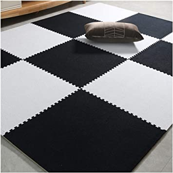 Amazon Com Carpet Floor Tile Carpet Interlocking Floor Tiles The Surface Is Soft Short Plush Soundproof Anti Fall Bedroom Living Room 2 Color Combinations 1 0 Cm Thick 60x60 Cm Color C