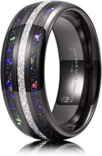 THREE KEYS JEWELRY 4mm 8mm Galaxy Opal Stone Imitated Meteorite Inlay Tungsten Wedding Ring Black Band