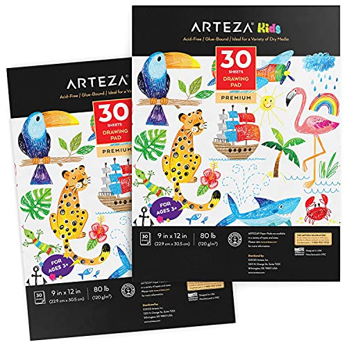 Arteza Kids Drawing Pad, Pack of 2, 9 x 12 Inches, 30 Large Sheets Each, Sketchbook for Drawing with Crayons, Colored Pencils, & Markers