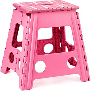 Acko 16 Inches Super Strong Folding Step Stool for Adults, Kitchen Stepping Stools, Garden Step Stool Pink