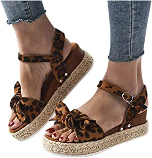 MITCOWBOYS Sandals with Bows for Women Open Toe Leopard Print Ankle Strap Buckle Platform Wedges Espadrilles