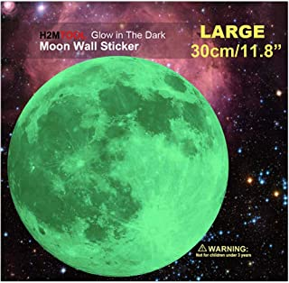 """Moon Wall Decal, H2MTOOL 30cm Glow Moon Stickers for Kids Rooms Nursery Decor (Green, 30 cm / 11.8"""")"""