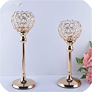 Daking-store Wedding Candelabra Centerpieces Center Table Candlesticks Parties Decor K9 Crystal Candle Lantern Gold Candle Holders,1 Set 35cm and 40cm