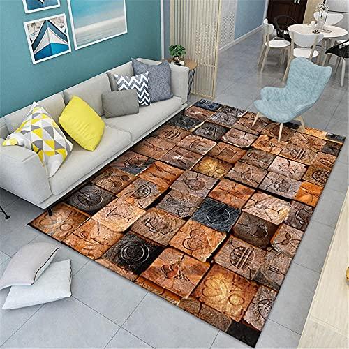 alfombras dormitorio matrimonio Alfombra marrón amarilla, patrón retro de GEGE a prueba...