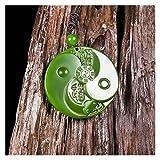 XMZZJJ Collar, Collar de Jade, Collar de dragón de Jade, Colgante de Jade, Collar de Gran tamaño Jadeite, Tallado a Mano Natural, joyería Tallada a Mano