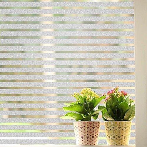E EBETA Fensterfolie Glasdekorfolie Sichtschutzfolie Selbstklebend Milchglasfolie Fensteraufkleber Fenster Aufkleber Ohne Klebe 90x200 cm Streifen