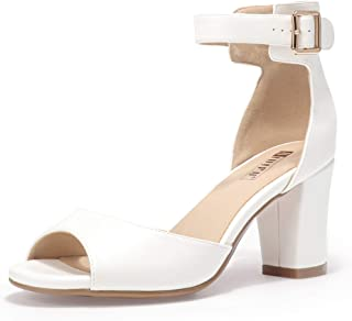Women's IN3 Candie-MI Low Block Heel Pump Heeled Sandals Ankle Strap Chunky Dress Shoes