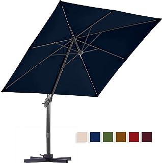 BLUU Solution Dyed Patio Cantilever Umbrella, Aluminum Outdoor Offset Square Umbrella Market Hanging Umbrellas for Deck & Garden, 360° Rotation w/Integrated Tilting and Cross Base (Navy Blue)