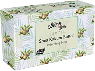Mirah Belle - Organic Shea Kokum Butter Soap Bar - 125 gm -Dry and Sensitive Skin. SLS, Paraben, GMO-Free, 125 gm