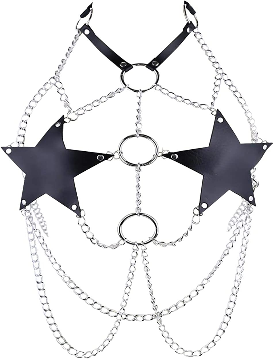Women' Leather Body Harness Hollow Out Skirt Chain Strap Stars Dress with Metal Chain Tassel