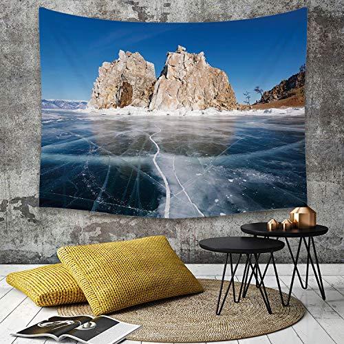 Tapestry,Hippie Tapiz,tapiz de pared con decoración para el hogar,Invierno, Lago Baikal congelado en Siberia con carámbanos Naturaleza esc,para picnic Mantel o Toalla de Playa redonda 150 x 200 cm