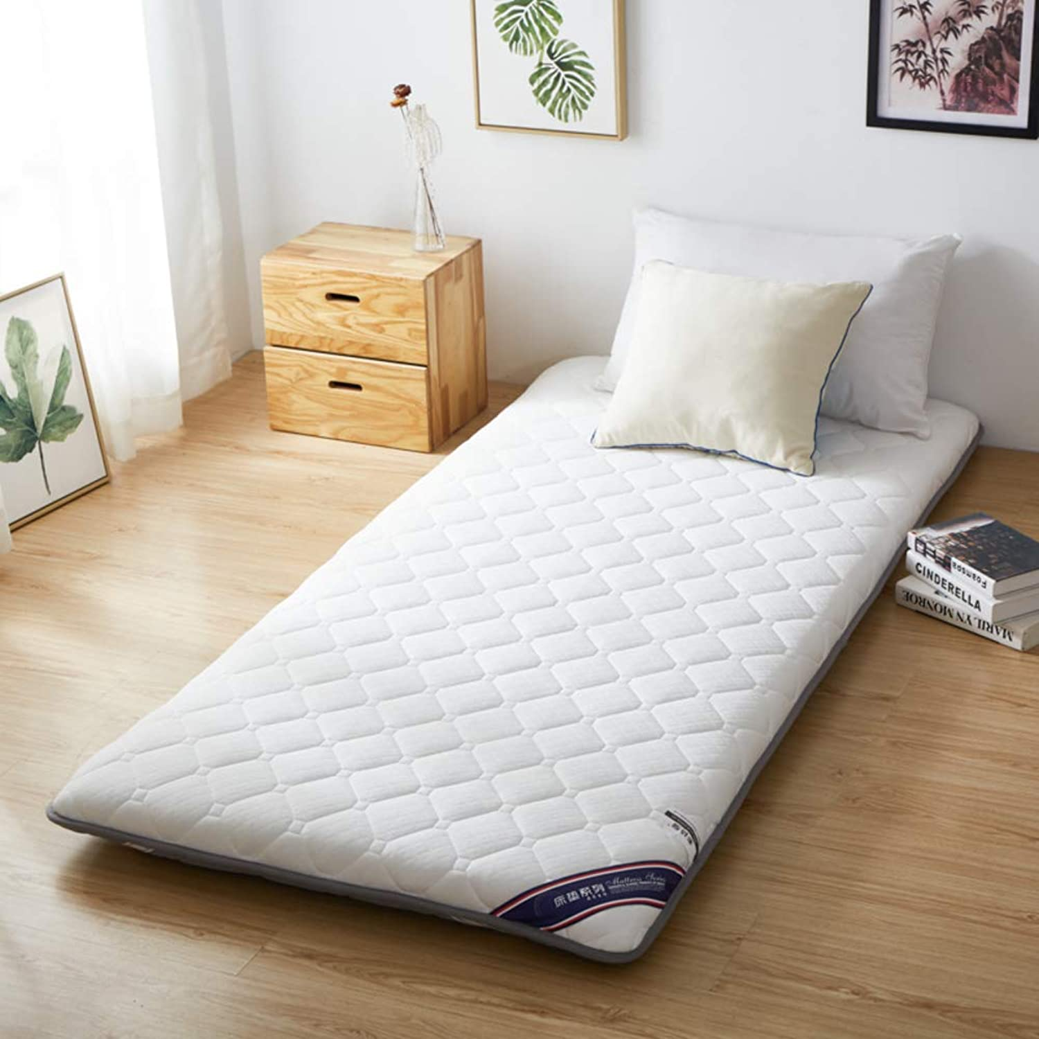 Breathable Bed Mattress Sleeping pad, Quilted Fitted Tatami Mattress Non-Slip Japanese Floor futon Mattress Foldable Roll up Mattress Easy to Carry for Student Dormitory -A 100x190cm(39x75inch)