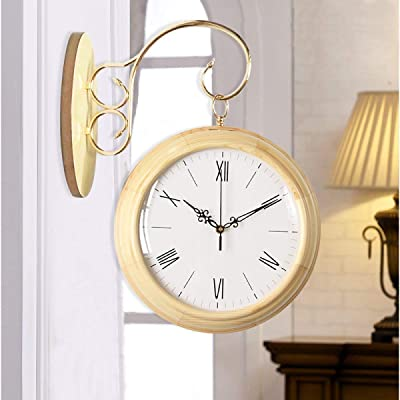 Zhahender Wall Clock Double-Sided Living Room Creative Double-Sided Quartz Wall Clock Modern