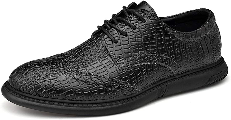 MUMUWU Wingtip Oxfords Crocodile Pattern Genuine Leather Business Dress British Brogue shoes for Men (color   Slip-on Black, Size   9.5 M US)