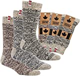 "socksPur 3 PAAR Thermo-Wollsocken ""CANADIAN SOCKS"" (43-46, NATUR - GRAU: mit andersfarbigem Dessin)"