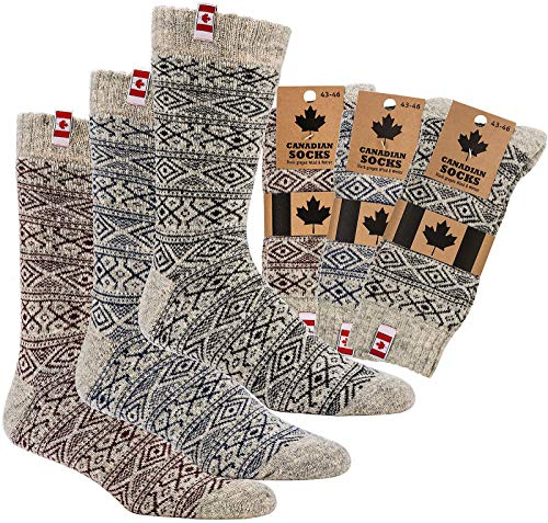 "socksPur 3 PAAR Thermo-Wollsocken ""CANADIAN SOCKS"" (39-42, NATUR - GRAU: mit andersfarbigem Dessin)"