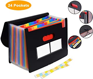 Expanding File Folder, Rainbow Accordion File Organizer with 24 Pockets, Portable Plastic Document Organizer Bag, Works on A4 & Letter Size, Great Storage for Paperwork, Bill & Receipt