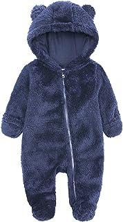 طفلة بوي الشتاء رومبير الملابس الوليد الصوف مقنعين القدمين قميص بذلة الرضع (Color : Navy Blue, Size : 3-6 Months)