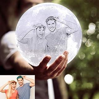 ACED Lámpara de luna personalizada con foto y texto,3 colores lampara luna impresión 3D,luz nocturna decorativas para niños de habitación,Es regalo creativo Navidad,cumpleaños,día de la madre(18cm)