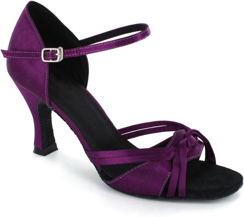 TDA Women's Knot Buckle Satin Leopard Stylish Modern Dance shoes Ballroom Samba Rumba Sandals