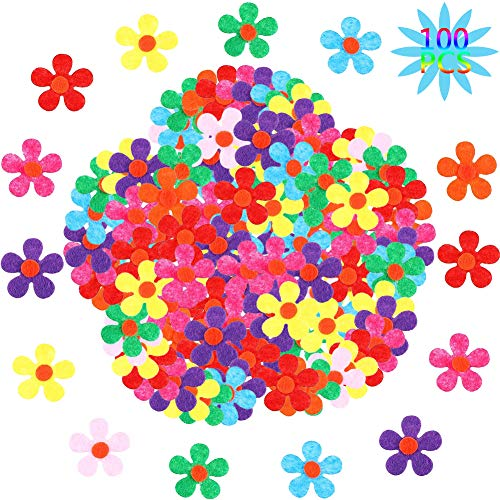 BESTZY Flor de Fieltro 100 Tabletas Fieltro Manualidades Flores de Fieltro de Colores para DIY Niños Adultos Horquillas Diademas Sombreros Adornos Artesanales