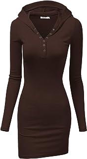 Doublju Womens Long Sleeve Henley Neck Basic Hoodie Dress