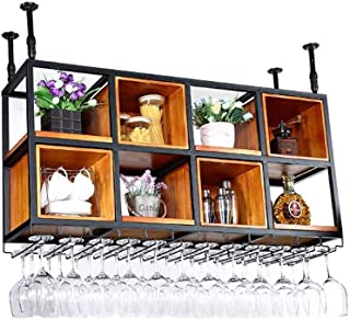 L.HPT Stockage de casier à vin, Support métallique Support Mural en Bois décoratif Casiers à vin Restaurant Cabinet Cabine...