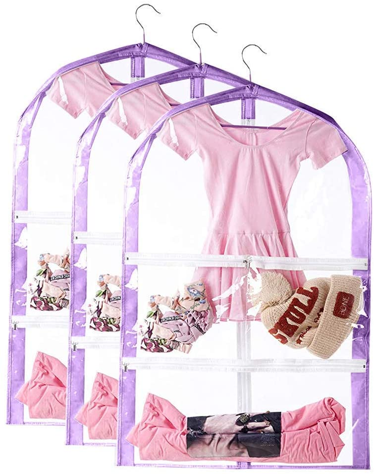 3Packs Kid's Garment Bags Clear Chicago Luxury Mall with Dance Costume