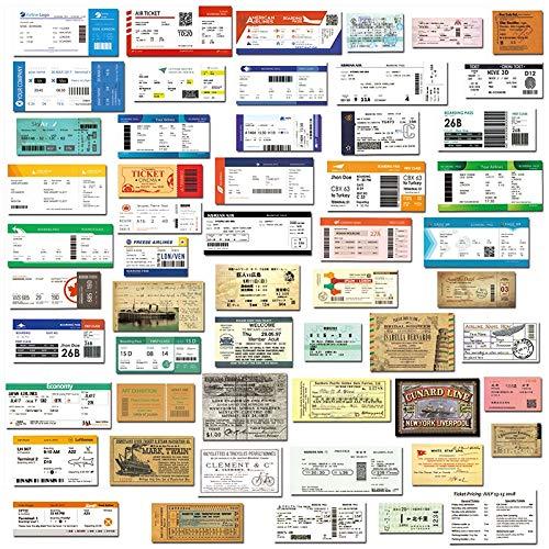 ZXXC 55 unids/Lote, Tarjeta de embarque de Viaje Retro, Billetes de avión, Pegatinas Creativas para Maleta, Bolsas de Equipaje para Ordenador portátil, Pegatina de PVC para teléfono de Bicicleta