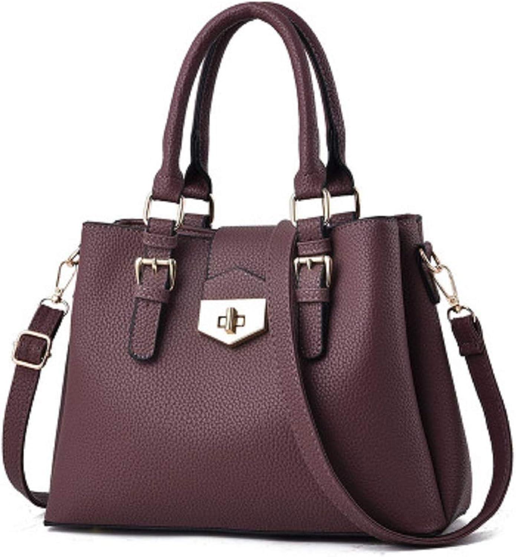 Qiusa Shiny Hardware Multilayer Plating Lock Damen Damen Damen Tasche Tote Bag Lady Bag Einfache Schulter Tote Bag (Farbe   Lila) B07G5QHMD8  Geschäft 55ff01
