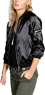 Women's Satin Bomber Jacket Long Sleeve Quilted Zipper Lightweight Coat