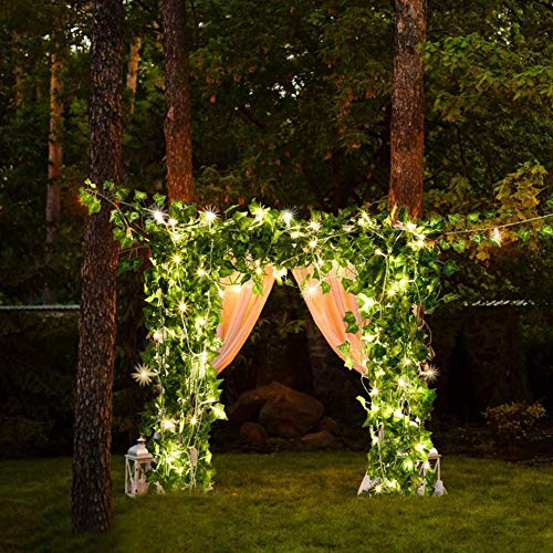 MU2827924 LED Light String Artificial Ivy Fake Garland Green Leafy Plant Vine 1 Pack / 20 Per 2 Meters Fairy Tale String Lights for Wedding Decoration Party,2 meters 20 lights