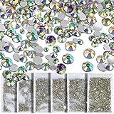 8640 Pcs Nail Rhinestone Crystal AB Decoration Timeless Lasting SS4 5 6 8 10 12 Round Iridescent Glass Flatback Glitter Diamond Charms Gem Stone For 3D Craft Jewelry DIY