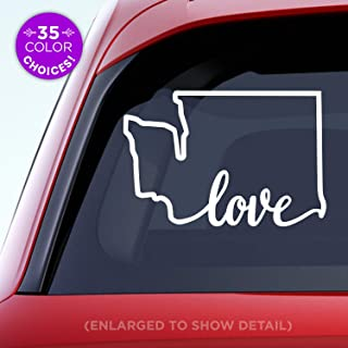 Washington State 'Love' (on bottom) Decal - WA Love Car Vinyl Sticker - Add a heart over Seattle, Olympia, Tacoma or Yakima - Made with outdoor vinyl