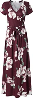 Kranda Womens Summer Vintage Floral Print Short Sleeve Maxi Long Dress