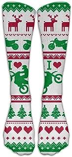 Motocross Ugly Christmas Sweater Knee High Long Socks Sports Tube Stockings For Running
