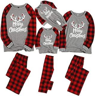 Weixinbuy Men Women Kids Pajamas Set Sleepwear Letter Printed Round Collar Plaid Christmas Family Matching Pjs Set