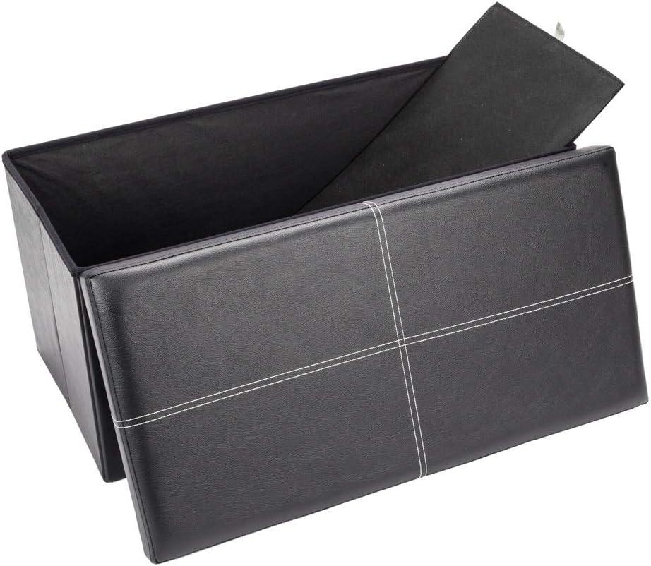 Storage Max 62% High material OFF Stool PU Leather Belt line Foot Footstool 763838cm Black