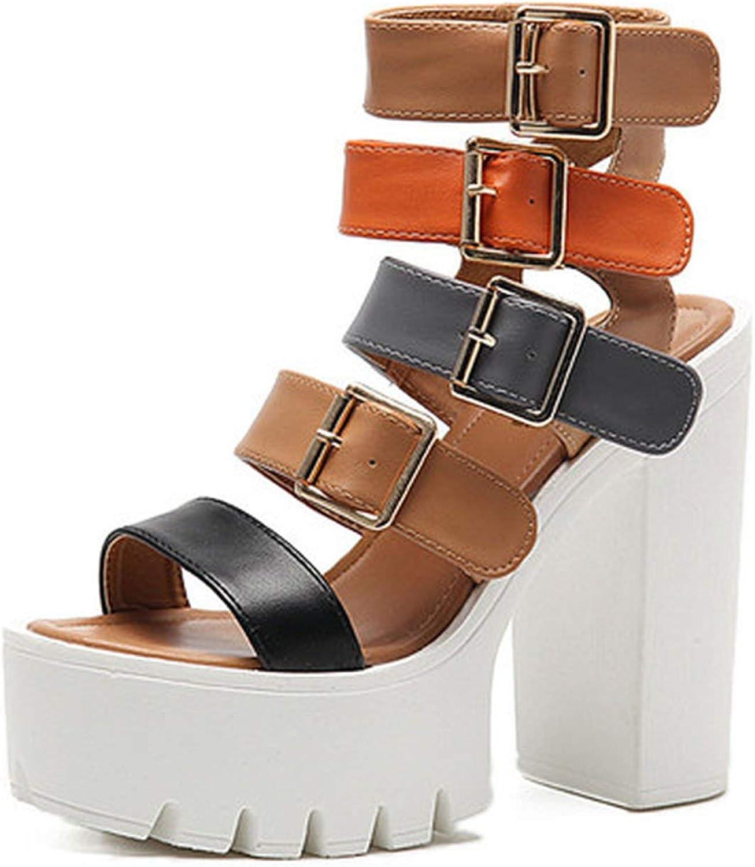 Alerghrg Fashion Buckle Female Gladiator Sandals Platform shoes Woman Black Big Size 42