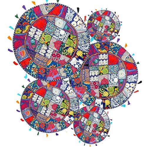 iinfinize - Juego de 5 fundas de cojín de patchwork de color khambadiya, de 22 pulgadas, redondas, bordadas, borlas, mantas, estilo bohemio, hippie, vintage, para sofá, meditación, puf, taburete, decoración de silla otomana