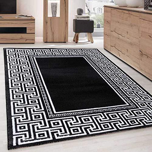 Teppich Modern Designer Geometrisch bordüre Versace Optik Schwarz Weiß - 80x150 cm