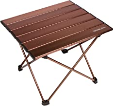 Trekology Portable Camping Side Tables with Aluminum Table Top: Hard-Topped Folding Table in a Bag for Picnic, Camp, Beach...