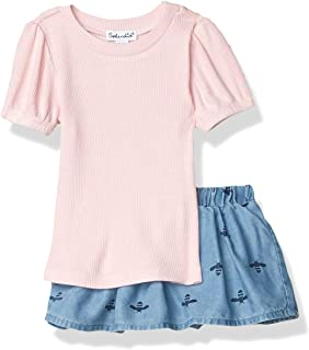6 Years greatmtx 2 Pieces Childrens Long Sleeve Shirt with Ruffles for Small Girls Skirt Suits with Floral Straps Clothes Set for 1