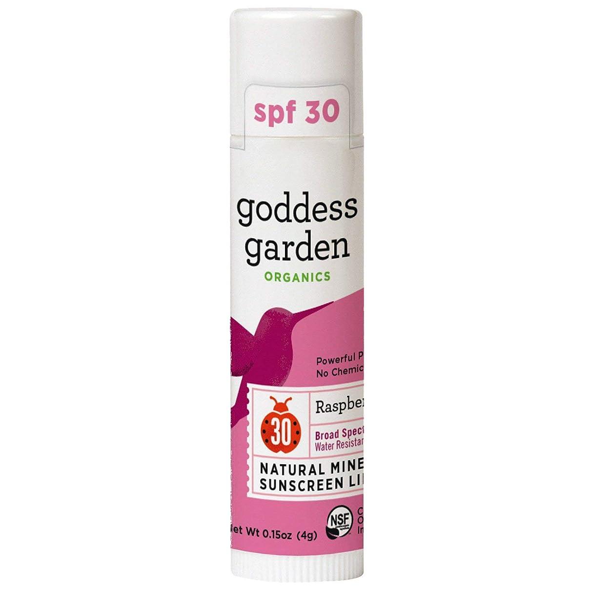 乳ご注意露骨なGoddess Garden, オーガニック, 天然ミネラル日焼け止めリップバーム, SPF 30, ラズベリー, 0.15 oz (4 g)