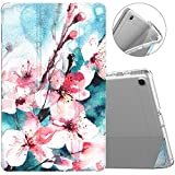 MoKo Case Fit Samsung Galaxy Tab A 10.1 2019, Slim Smart Shell Stand Folio Case with Soft TPU Translucent Frosted Back Cover for Galaxy Tab A 10.1' SM-T510/SM-T515 2019 Tablet - Peach Blossom
