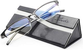 Livho Blue Light Blocking Glasses,Transparent Lens,Computer Glasses,Anti Eyestrain/Anti Scratch/Anti UV Ray,Sleep Better for Women Men (Gun) - 0.0 Magnification