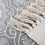 SHACOS Handgewebte Terrassen Teppiche Mandala mit Quasten Vintage Baumwollteppiche Waschbar Grau Ideal für Eingangstür, Küche, Keller usw. 60 x 90 cm - 3